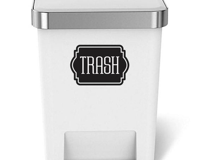 10% off sale Trash Decal, Sticker for garbage barrel, vinyl decal for trash can, recycling tote decal