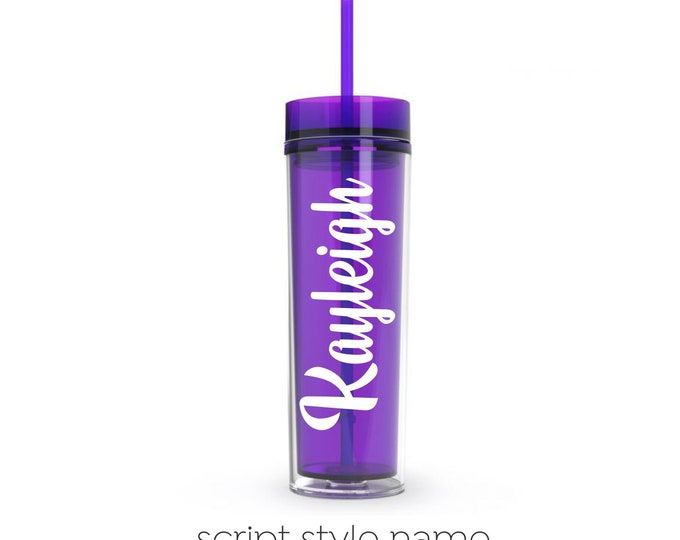 Purple Acrylic Plastic Skinny Tumbler with matching straw, 16 ounce water bottle, personalized drinkware for bridesmaids, Easter Basket gift
