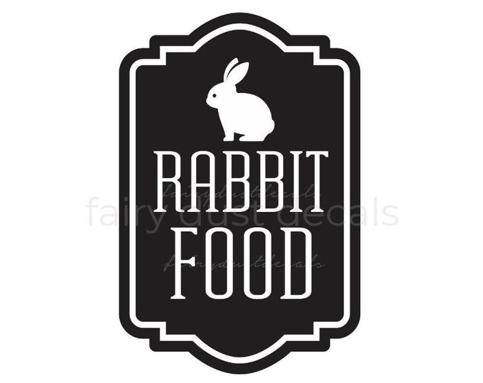 Rabbit Food Container Decal, Sticker for Bunny Food Canister, Pet Food Canister Label, Easter Bunny Sign Vinyl Decal