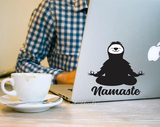 Sloth vinyl decal, Namaste yoga pose, sloth lsptop sticker