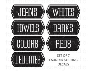 Laundry Hamper Decals, set of 7 vinyl labels for sorting clothes, laundry room organization