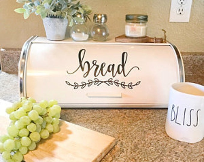 Bread Box Decal, Kitchen Pantry Canister Label, Bread Decal, Vinyl Letters, Kitchen Storage, Farmhouse Bread Box Vinyl Sticker