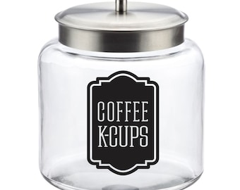 Coffee KCups Canister Label, kcups vinyl decal for coffee container