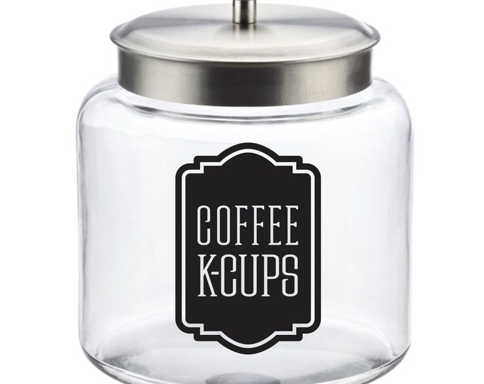 Coffee KCups Canister Label, kcups vinyl decal for coffee container, FREE SHIPPING with BONUS decal