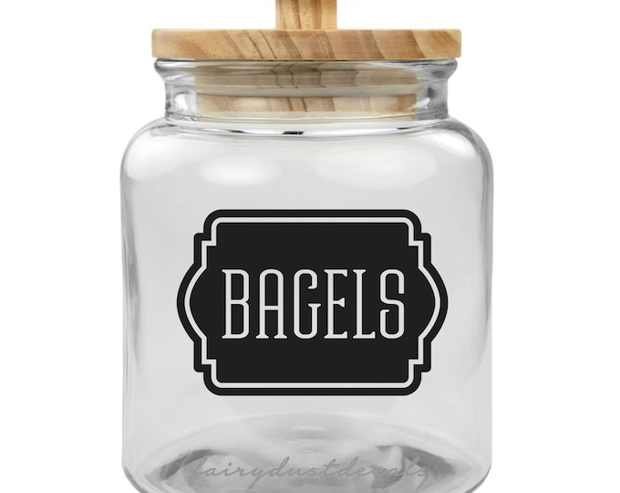 Bagels Decal, kitchen canister label, bagel vinyl decal