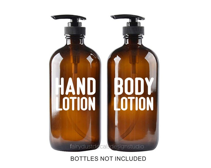 Lotion Bottle Labels for apothecary style glass soap dispenser jars, Modern Farmhouse Kitchen Bath Decor, Hand Lotion Body Lotion Decals