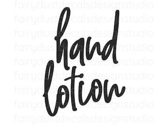 Hand Lotion Label for dispenser bottle, handwritten script style letter, hand lotion vinyl decal, original design