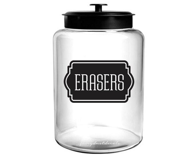 Erasers Decal, school supplies, classroom storage, canister label, teacher organization, back to school, free shipping