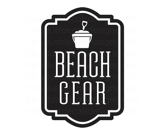 Beach Gear Decal, vinyl label sticker for storage bin