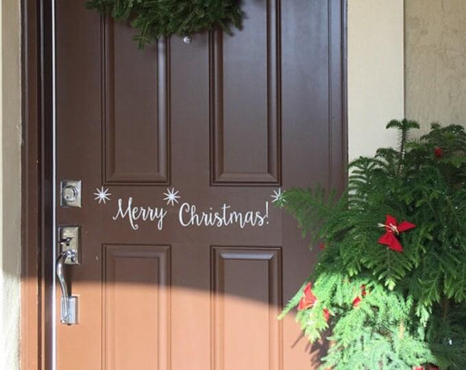Merry Christmas door decal, vinyl lettering for front door, Happy Holidays, Christmas decal for front door, vinyl letters for home, door