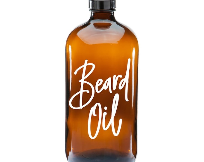 Beard Oil Label for glass dispenser bottle, beard oil vinyl decal, gift for men