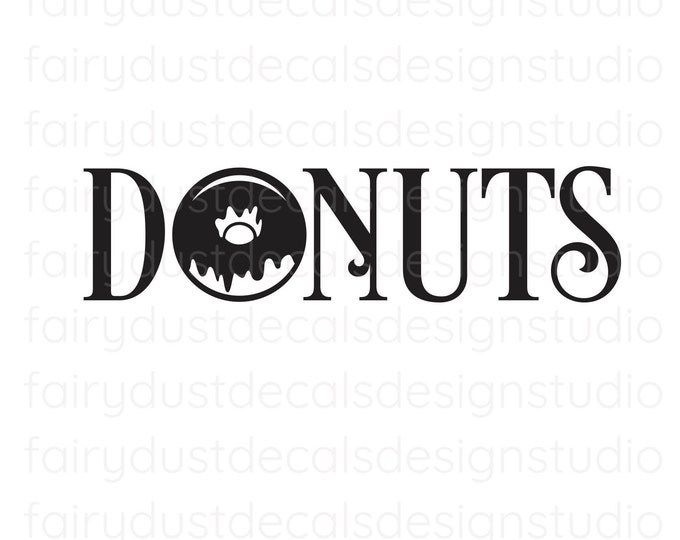 Donut wall decal, doughnuts vinyl sticker, decal for donuts sign, wedding chalkboard sign decal, new design, glazed donut decal