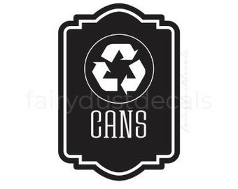 Recycle Cans vinyl decal for trash bin, Recycle Tote Sticker, recycling symbol, vinyl decal for garbage barrel