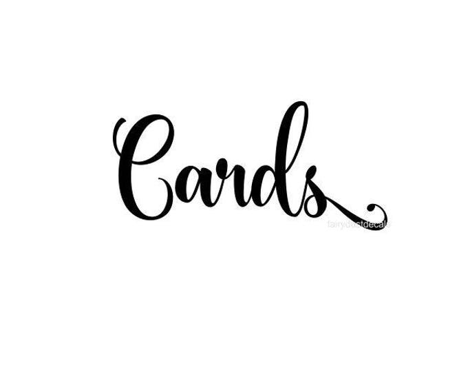Cards Decal for wedding sign, cards vinyl decal