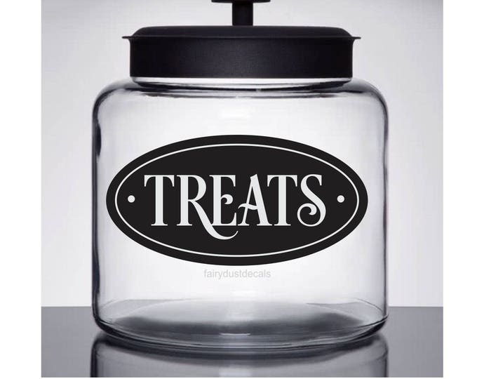 Treats Decal, Vinyl Sticker, Cookie Container, Self Stick Matte Vinyl Decal, Oracal Vinyl, Pantry Label, Pet Treats Jar Label, Dog Lover New