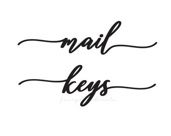 Mail and key wall mount cabinet vinyl decals, mail sticker, house keys label, home organization command center decal
