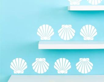 Beach seashell decals, scallop design sea shells, set of 9, choose color, beach house wall decor