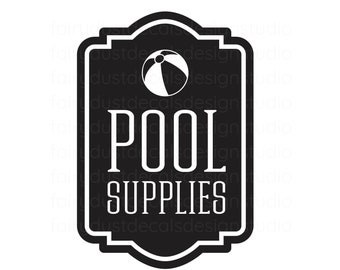 Pool Supplies Decal, summer storage bin label, beach ball vinyl decal