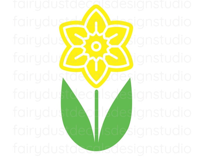 Daffodil Flower Decal, storefront display, Spring and Easter Decor, Daffodil Window Sticker