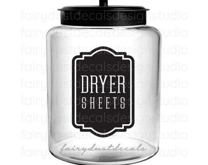 Dryer Sheets Laundry Decal, canister label sticker, organized laundry room decor