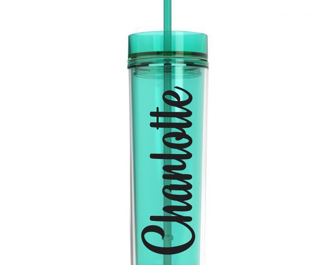 Mint Green Acrylic Plastic Skinny Tumbler with matching straw, 16 ounce water bottle, personalized drinkware for bridesmaids, CUP INCLUDED