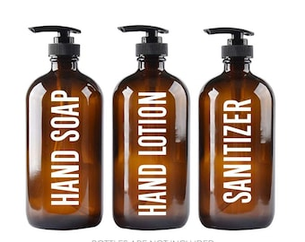 Hand Soap Lotion and Sanitizer Decal Set, apothecary soap dispenser sticker, amber brown glass bottle labels