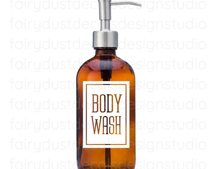 Body Wash Label for dispenser bottle, square design vinyl decal