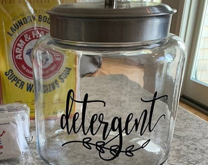 Detergent Canister Label, Laundry Vinyl Decal, Laundry Powder Detergent Sticker, detergent vinyl decal, farmhouse decor, laundry organizer