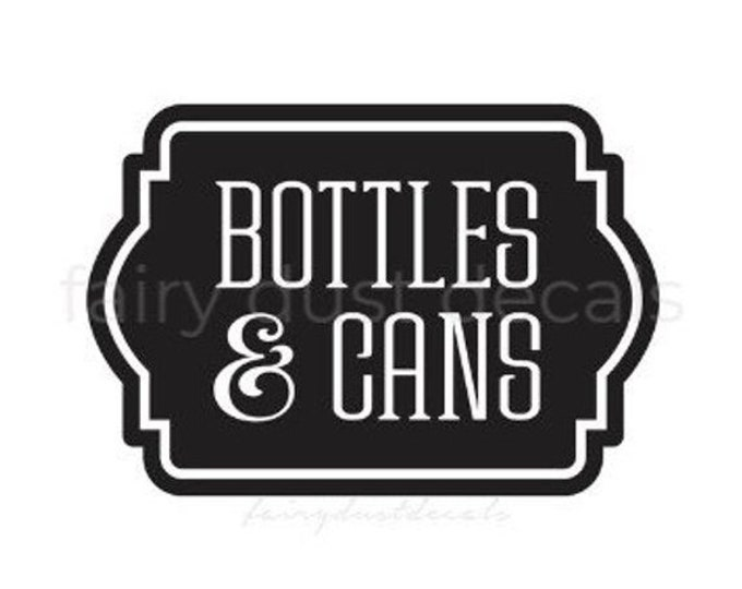 10% off sale Recycling Decal for Bin, Bottles and Cans Sticker, Vinyl Decal for Recycle Tote, Trash Can Vinyl Decal Label Sticker