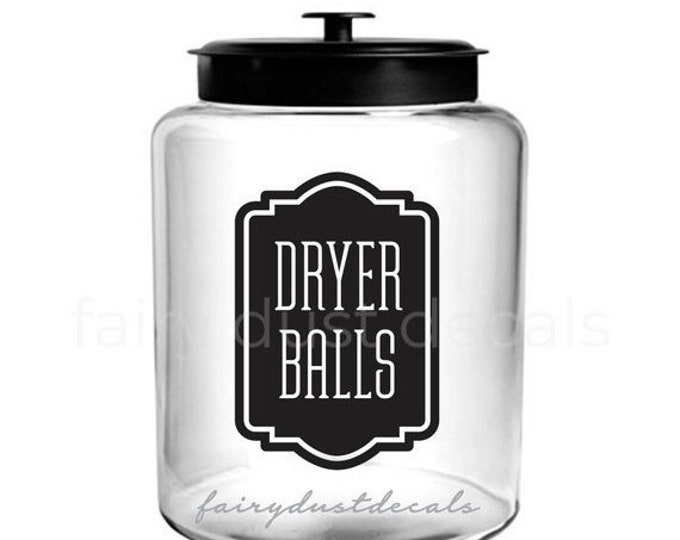 10% off sale Laundry Dryer Balls Canister Decal, Organize Storage Label for Laundry, Washer and Dryer Decor, Farmhouse Laundry Room Decor, D
