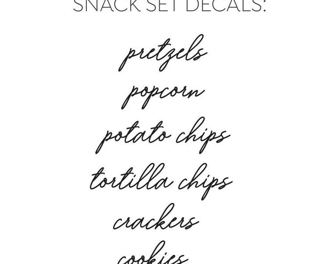 Canister Set Labels, snack labels, kitchen pantry organization, pretzels potato chips tortilla chips crackers cookies vinyl decals