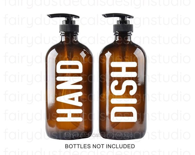 Hand Soap Dish Soap Label for bottles, Hand Dish Vinyl Decal, Apothecary Style, Modern Farmhouse Kitchen Bath Decor