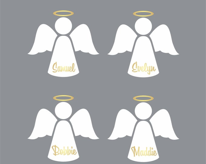 Christmas Angels, set of four angel vinyl decal stickers, personalized name decal