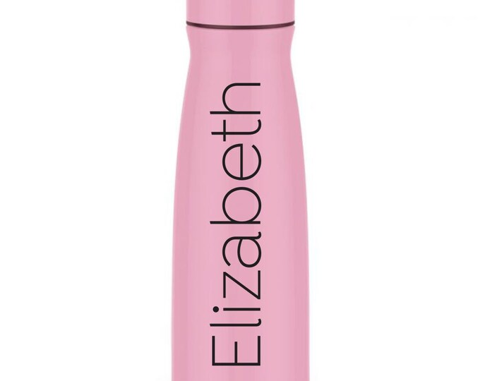 Bubblegum Pink Water Bottle, Stainless Steel with screw on lid, 17 ounces, pink metal drinkware, personalized thermos