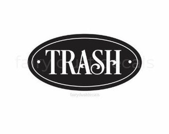 Trash Decal, vinyl sticker for trash can