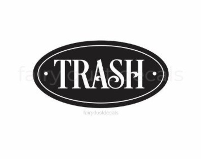 Trash Decal, recycle and trash stickers, Trash Barrel Label, Home and Garage Organization, Trash Vinyl Decal