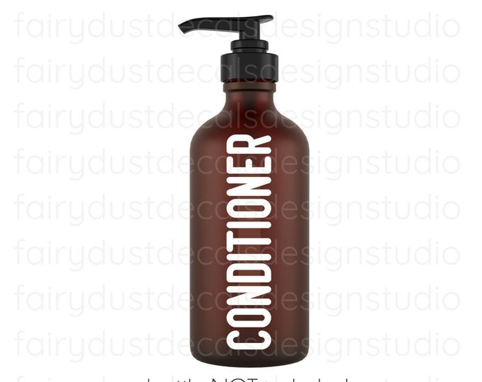 Conditioner Decal for glass apothecary bottle, hair conditioner vinyl decal, farmhouse style bathroom decor, apothecary bottle label