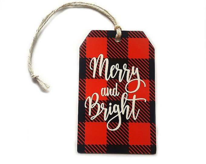 Christmas Tree Ornament, Metal Gift Tag, Buffalo Plaid, Merry and Bright, double sided, reuseable gift tag ornament