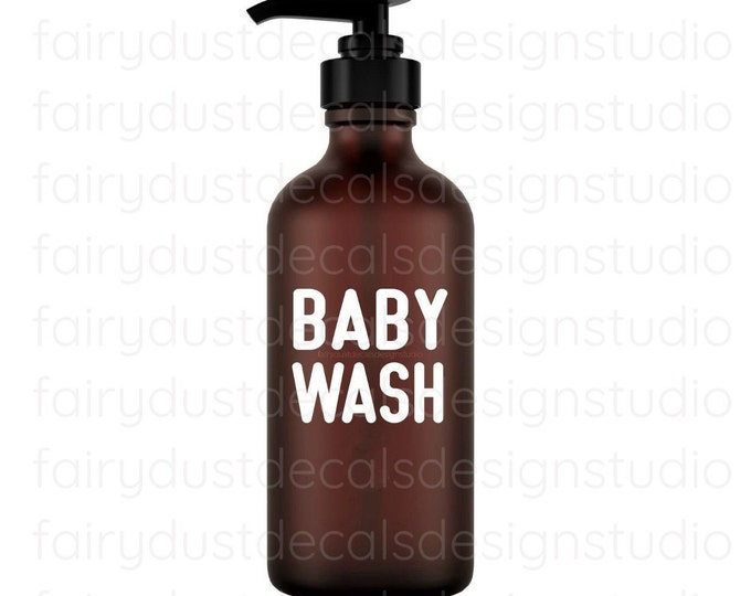 Baby Wash Decal for glass apothecary bottle, baby wash vinyl decal, farmhouse style bathroom decor, apothecary bottle label