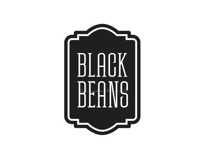 Black Beans Canister Label, vinyl decal, kitchen pantry storage jar sticker, black beans container sticker, dry goods cooking decals