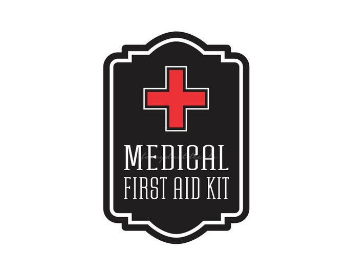 Medical First Aid Kit Label, vinyl decal for school nurse, office or business medical first aid kit sticker for container