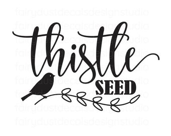 Bird Seed Decal, Bird Seed Container Label, vinyl decal, thistle decal,  free shipping