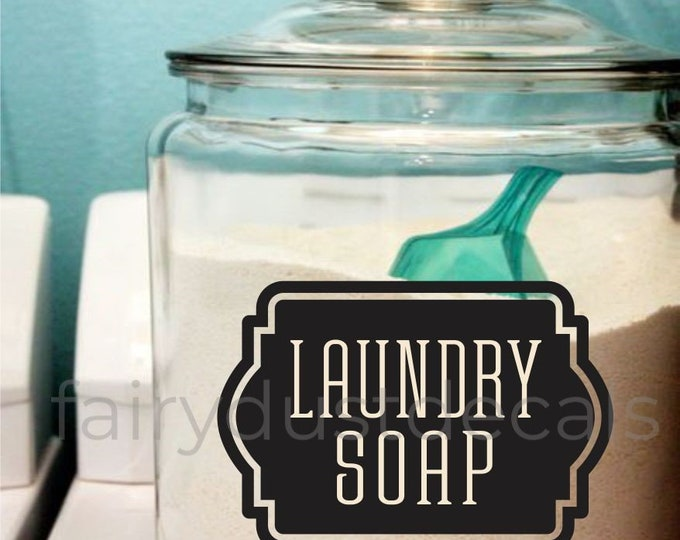 Laundry Soap Decal, Laundry Detergent Canister Sticker, Laundry Room Decor, organize laundry or pantry room label