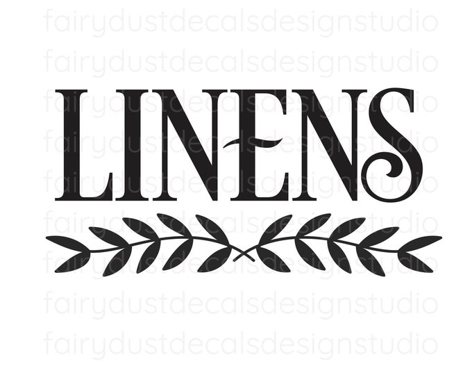 Linens Decal, Farmhouse Bathroom Decor, Linens Door Sign, sheets linens and towels restroom label, linens vinyl decal