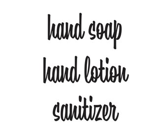 Hand Soap Lotion and Santizer Label Set, amber glass soap dispenser bottle vinyl decals, apothecary farmhouse style stickers