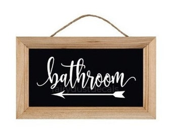 10% off sale Bathroom decal with arrow, make your own sign for wedding or event, handwritten script style vinyl letters, bathroom vinyl deca