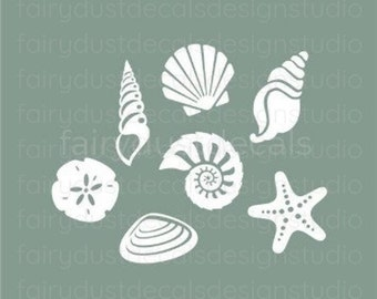 Seashell wall decals, beach decor vinyl stickers, beach sea shell vinyl wall decals