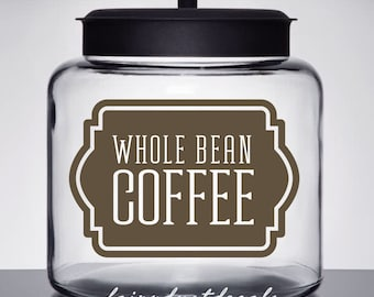 Coffee Canister Label, Whole Bean Coffee Vinyl Decal