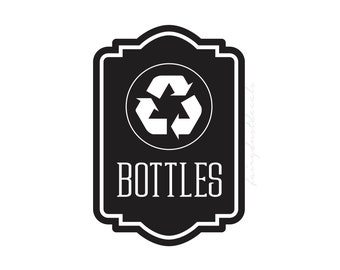 Recycle Bottles vinyl decal for trash bin, Recycle Tote Sticker, recycling symbol, vinyl decal for garbage barrel