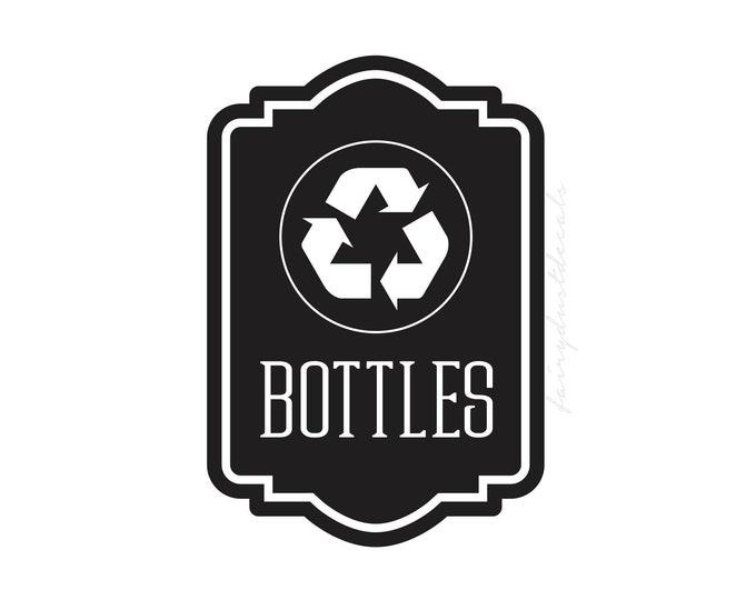 Recycle Bottles vinyl decal for trash bin, Recycle Tote Sticker, recycling symbol, vinyl decal for garbage barrel
